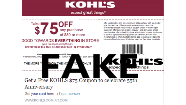 fake kohl s coupon making the rounds on social media again