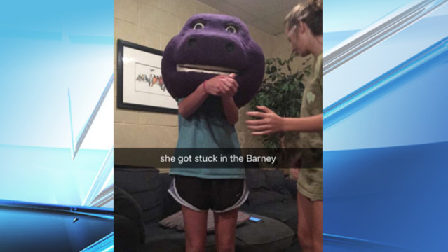 Barney's head gets stuck on teen; firefighters come to her rescue