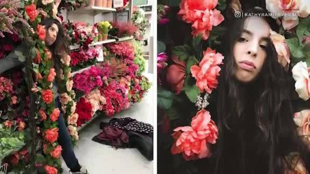 Teens Take Pictures With Fake Flowers For Hobby Lobby Challenge