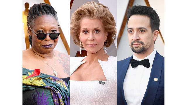 Stars wear supportive pins for Gun Control, AIDS, and Time's Up at 2018 Oscars