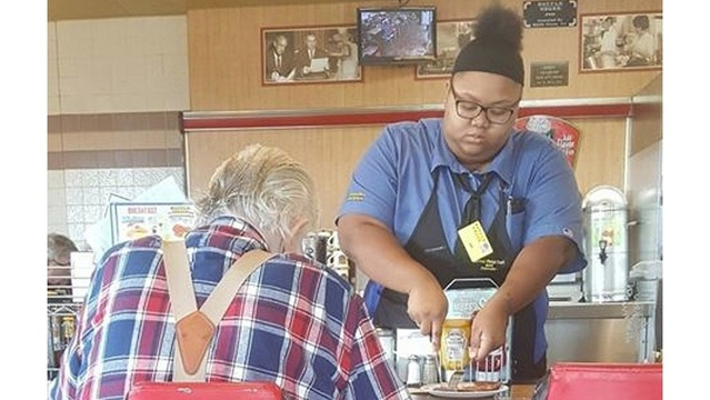 Waffle House worker given $16,000 scholarship after photo of good deed goes viral