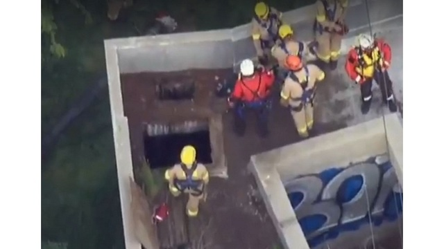 Teen boy plunges down sewage pipe