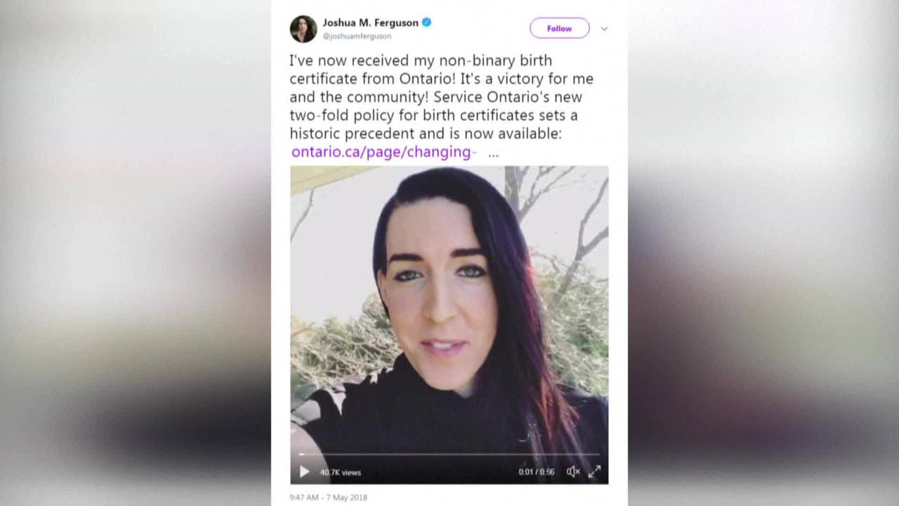 Canadian Gets Countrys First Non Binary Birth Certificate