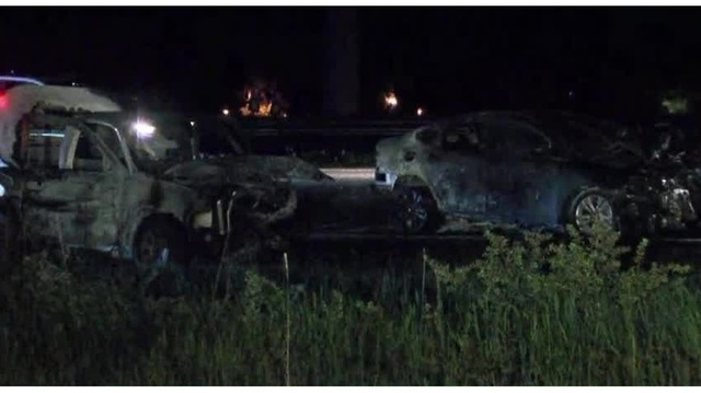 Innocent driver, suspect hurt after chase ends in fiery crash