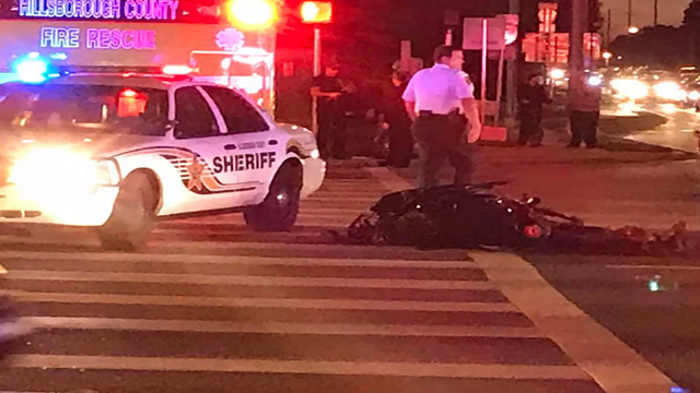 Driver, passenger of motorcycle taken to hospital as trauma alerts after Tampa accident