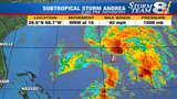 Subtropical Storm Andrea develops from area of low pressure southwest of Bermuda
