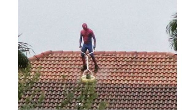 Florida man dressed as Spiderman seen power washing roof